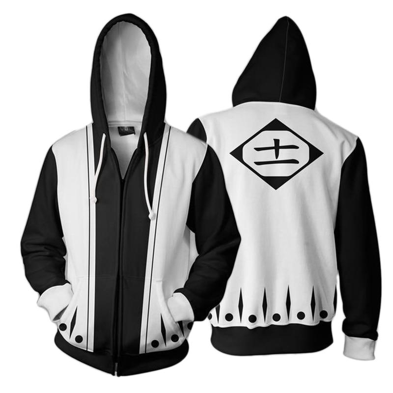 Sudadera con capucha impresa en 3D Anime Bleach Kenpachi Zaraki Cosplay disfraces chándal con cremallera chaqueta con capucha abrigo Streatwear