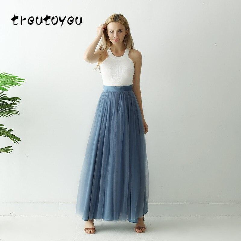 Treutoyeu, falda larga de 3 capas, falda de tul suave, falda tutú de talla grande, falda larga azul polvo para mujer, vestido de baile, falda Faldas