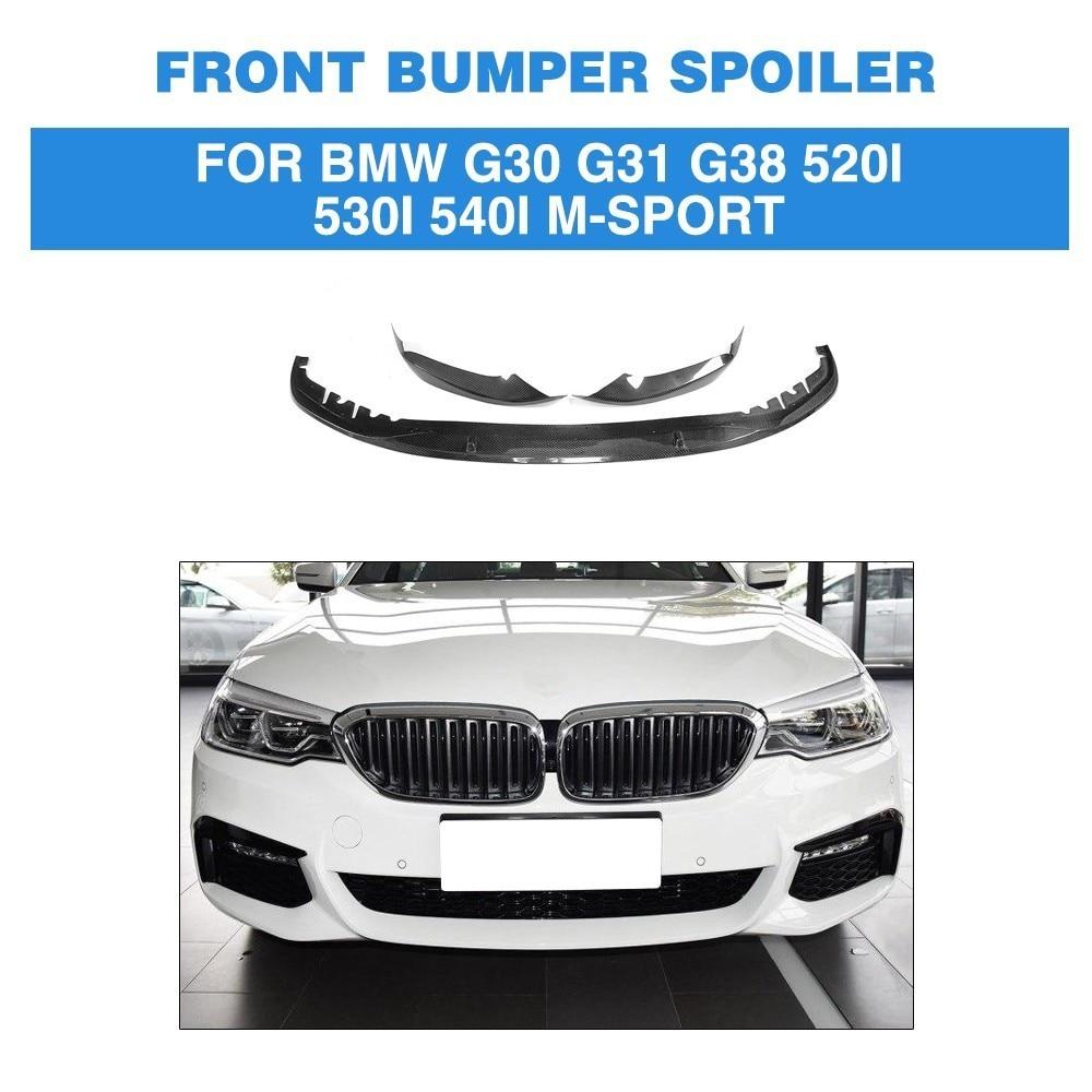 Alerón de parachoques delantero de fibra de carbono, divisores de labios, delantal para BMW 5 series G30 G31 G38 520i 530i 540i m-sport, parachoques 2017 2018