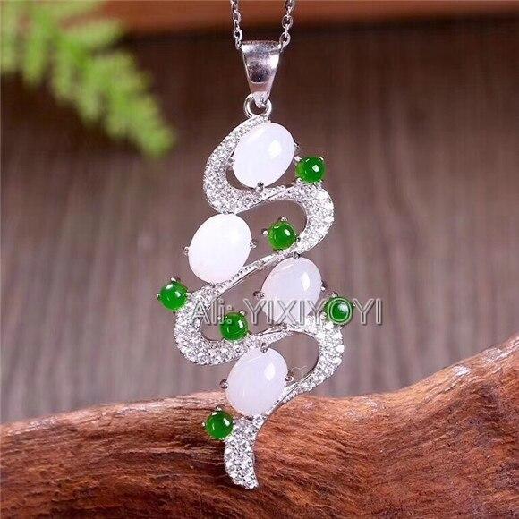 925 Plata blanco verde HeTian Jade cuentas incrustaciones hueco flor diseño suerte colgante + collar de cadena Certificado de joyería fina