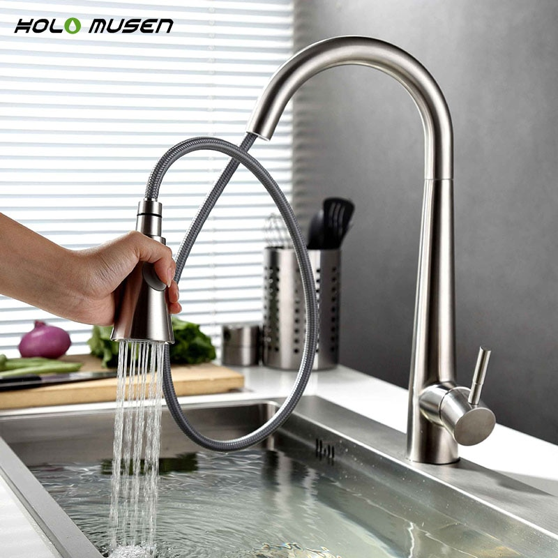 Lead-Free Hot Cold Kitchen Mixer Tap Brushed Nickel Kitchen Tap Pull Out SUS304 Stainless Steel Faucet Kitchen Mixer brushed stainless steel pot filler faucet lead free with dual joint swing arm and aerator surface deck mount kitchen mixer tap