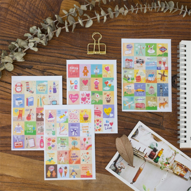 4sheets/lot New cartoon Life stamp deco Paper Sticker index Label Fashion Stamp Sticker For Diary Scrapbooking