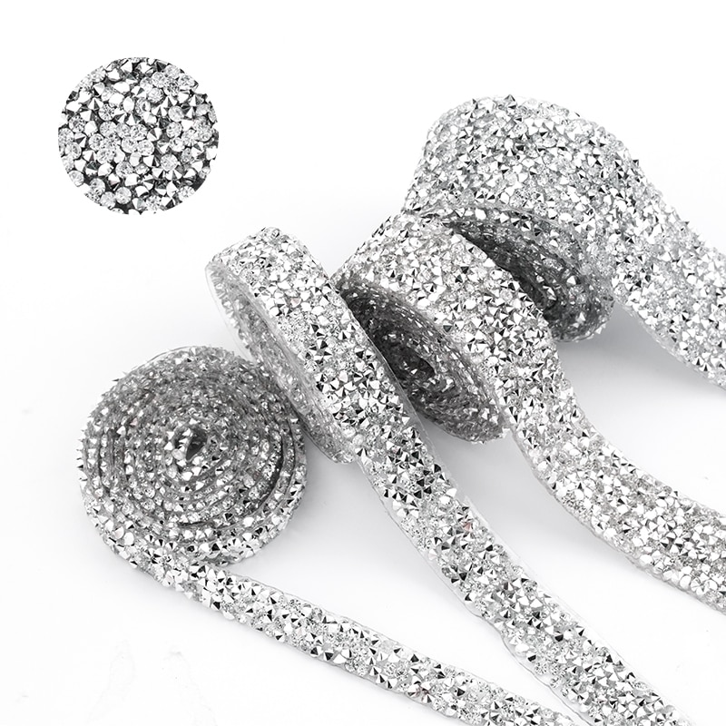 1 yarda costura cristal recortado Strass motivo Hot Fix Rhinestone cinta aplicadora cinta con diamantes de imitación hierro en apliques para vestidos
