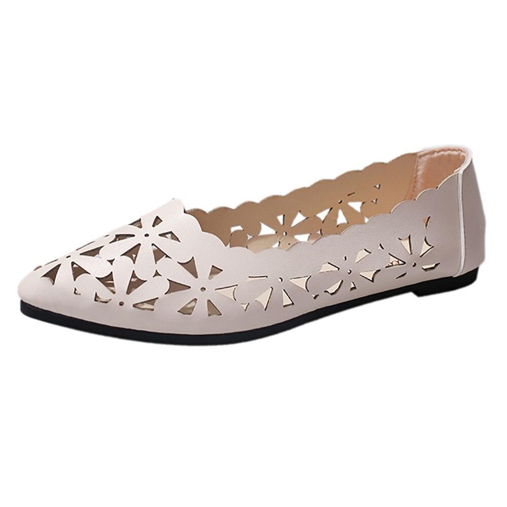 ¡Novedad! zapatos planos para mujer, zapatos planos de tacón bajo con agujeros y forma de flor, zapatos de punta estrecha para mujer