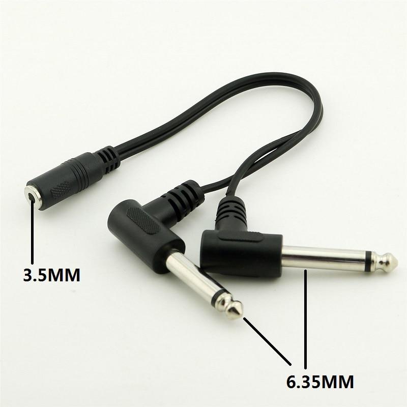 3.5 Mm Stereo Female Naar Dual 6.35 Mm Haakse Jack Mono Male Audio Kabel Adapter Lengte 20 Cm Zwart