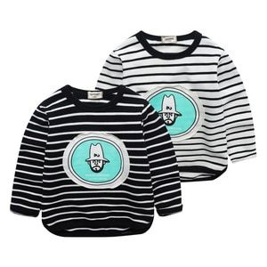 Spring&autumn cotton Long sleeves baby boys t-shirt jchao kids striped tops fashion Cartoon girls tees 2-7 years child clothes