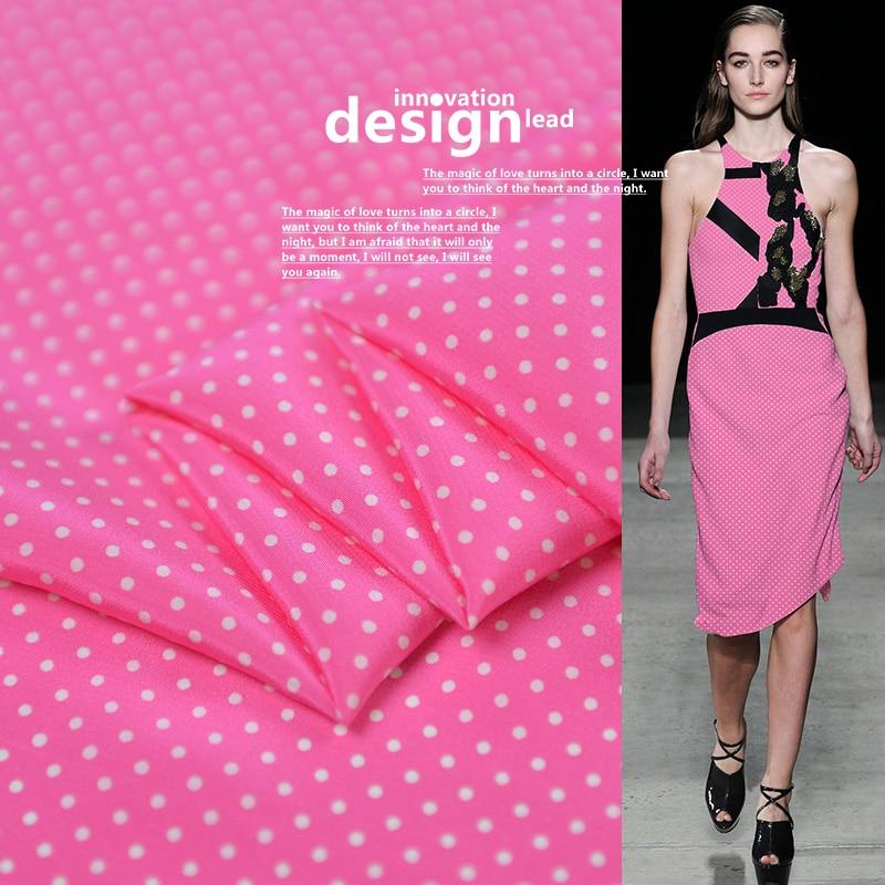 Tela de seda Rosa fresca material de crepé chine polka dot 100cm * 112cm
