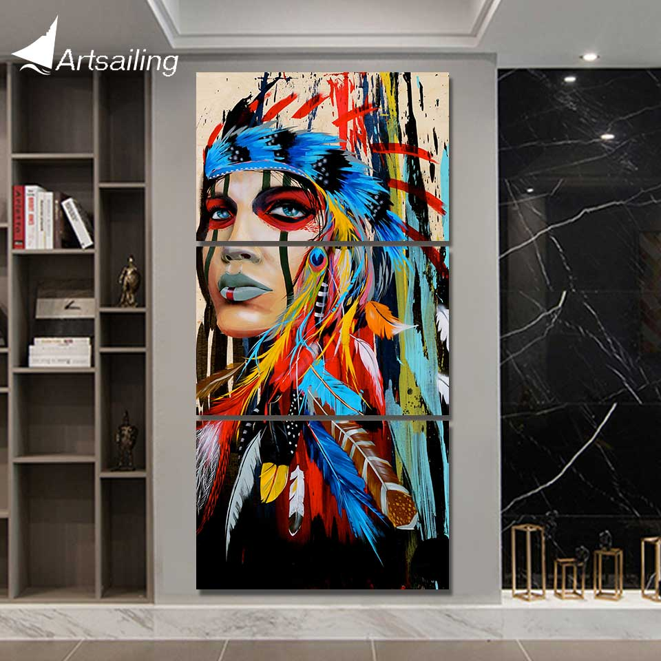 HD печать, 3 шт., Картина на холсте, племя, перо, воин, украшения, фотографии для гостиной, Американская Художественная живопись, постер, NY-5786