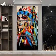 Toile peinture artistique 3 pièces imprimée HD   Décoration de guerrier en plumes de la tribu, pour salon, affiche artistique américaine