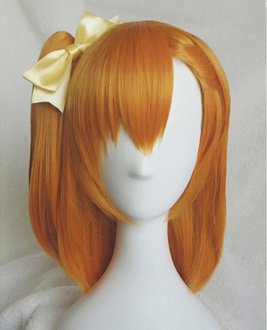 Парики Honoka Kosaka Kousaka LoveLive! Жаростойкие синтетические волосы на клипсе с хвостиком Love Live, карнавальный парик + париковая Кепка + желтый бантик