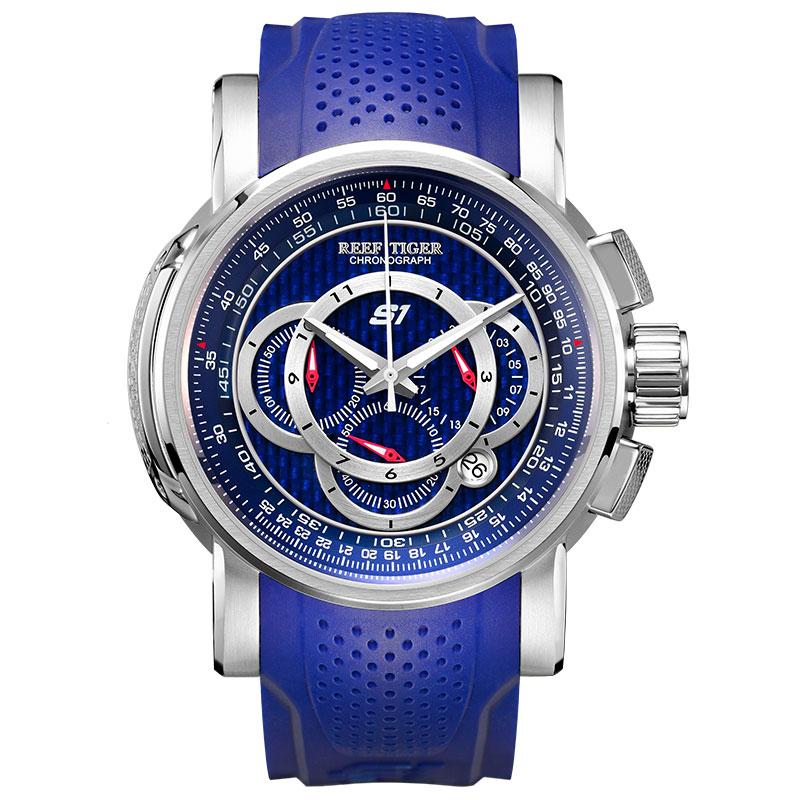 Reef Tiger/RT Mens Sport Watch Chronograph Date 316L Steel Big Blue Dial Rubber Strap Quartz Watches Waterproof Relogio RGA3063