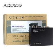 Convertisseur AIXXCO HDMI vers VGA avec connecteur Audio/R/L HDMI2VGA 1080P pour PC portable vers HDTV TV boîtier projecteur HDMI2VGA convertisseur