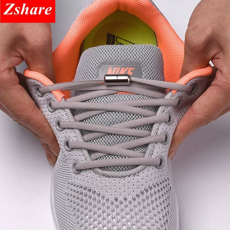 1Pair No tie Shoelaces Round Elastic Shoe Laces For Kids and Adult Sneakers Shoelace Quick Lazy Lace