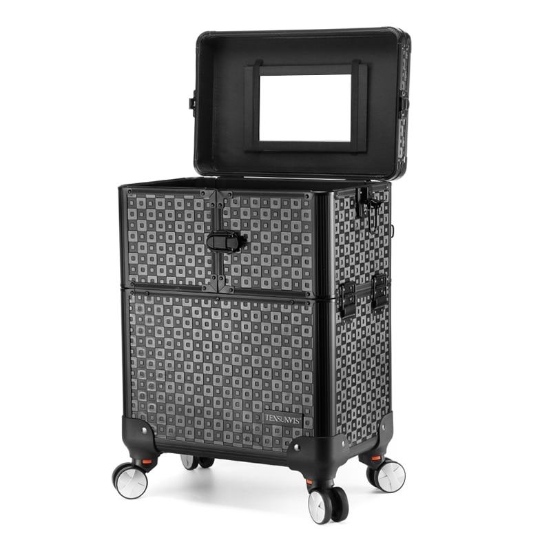 Nowy profesjonalny Mackup Spinner Rolling przechowalnia podróż kosmetyczka wielofunkcyjny wózek Carry On walizki koła bagażu kabinowego