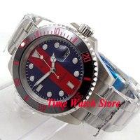 Bliger 40mm blue red dial luminous saphire glass Ceramic Bezel Automatic movement Men's watch BL116