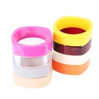 fashion colorful resin acrylic geometric hand bangle bracelet with designer charms wide bracelets for women indian jewellery