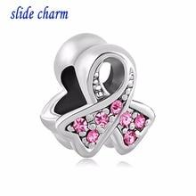 Charme de glissière de livraison gratuite de ruban rose de cancer du sein en forme de breloque strass perles fit Pandora bracelet