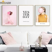 vogue pink balloon girl quote canvas print painting poster art wall pictures wall art canvas poster for living room home decor