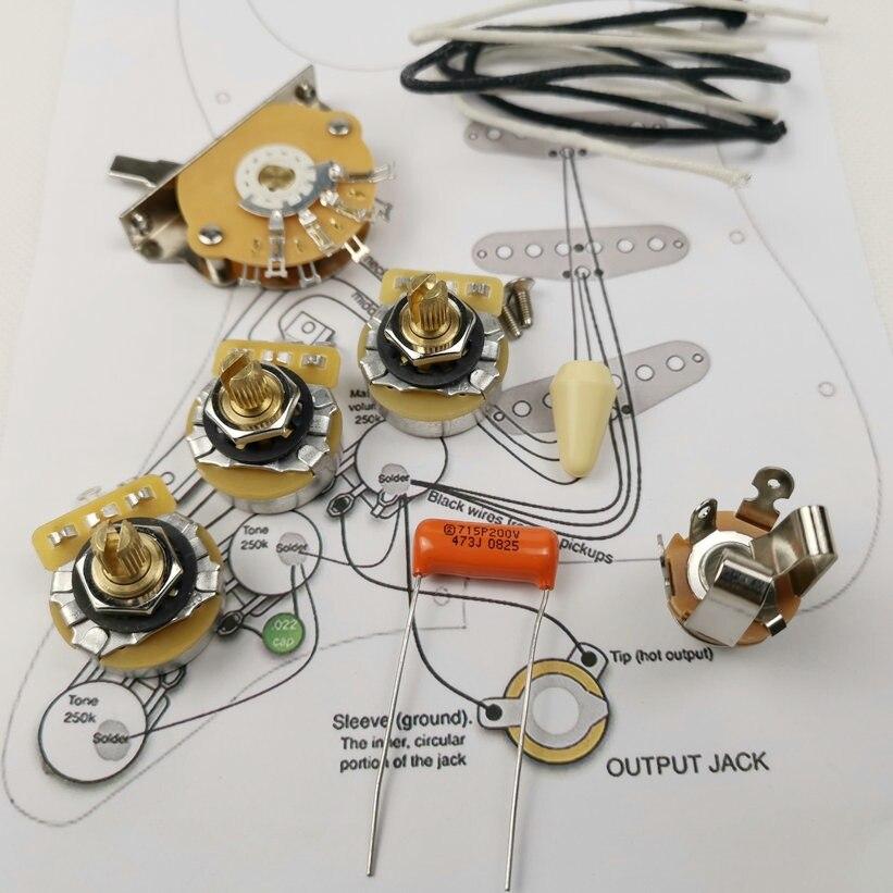Potenciómetro de guitarra CTS 250K, Kit de cableado de eje de cobre para-Strat CDE 715P .047 200V, tapa de caída naranja + dibujo de línea de soldadura