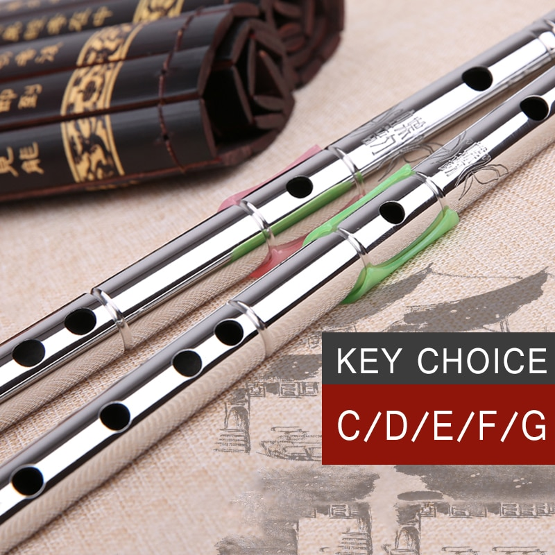 Professional Stainless steel Tube CDEFG Key 8 Holes Flute Chinese Dizi Metal Flute China Classic Woodwind musical instruments enlarge