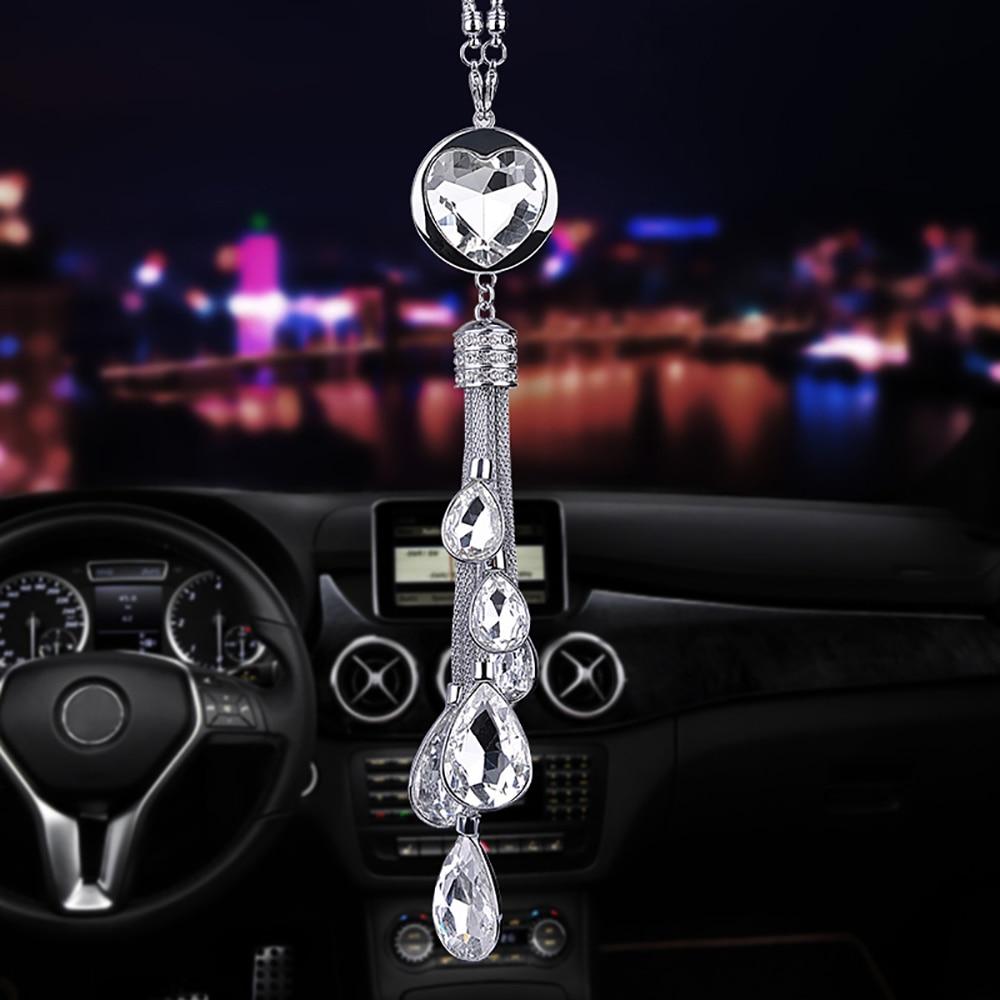 Car Pendant Diamond Decoration Auto Hanging Ornament Heart-shaped Crystal Automobiles Rear View Mirror Suspension Adornment Gift