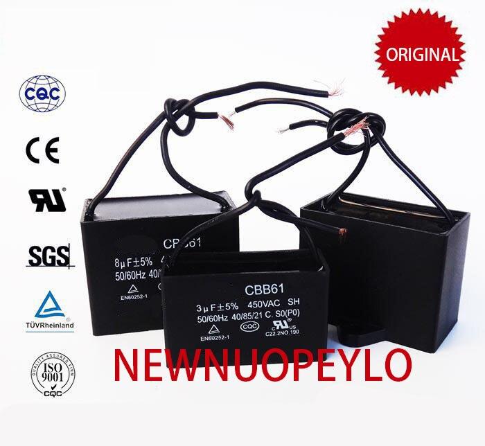 10 Uds CBB61 condensador 1uf/1,2 uf/1,5 uf/1,8 uf/2,5 uf/3uf/3,5 uf a 20uf VENTILADOR DE CA condensador 450V CBB Original