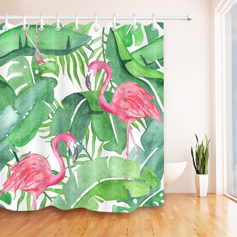 Folhas de plantas tropicais rosa flamingo cortina de chuveiro tecido poliéster à prova dwaterproof água folha verde cortinas do banheiro tecido banheira decoração