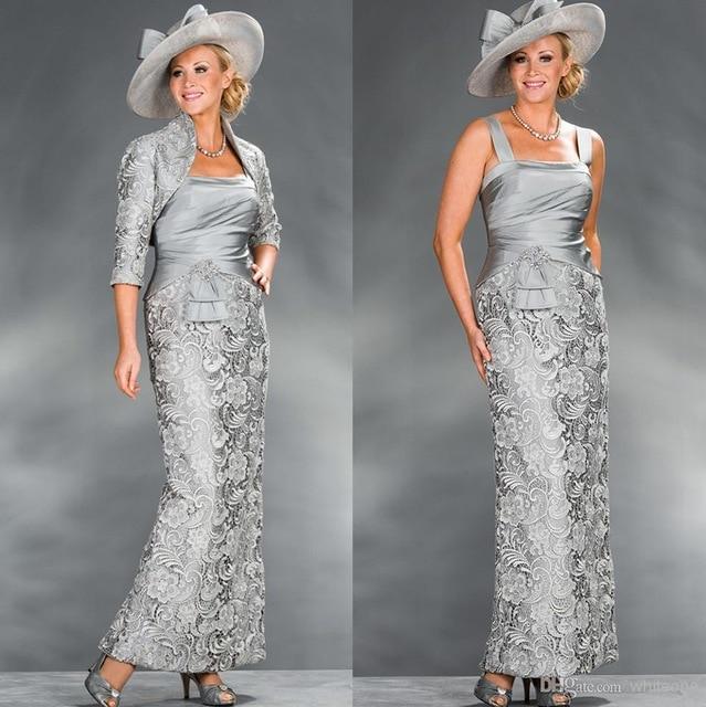 فستان أم العروس الفضي ، غمد مع سترة ، دانتيل ، خرز ، فساتين أم لحفلات الزفاف