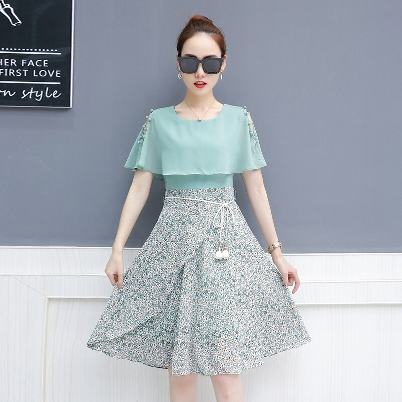 Chiffon women's 2018 summer wear new super fairy long  floral dresses cape cloak clothing outfit women vestidos size S - XXL