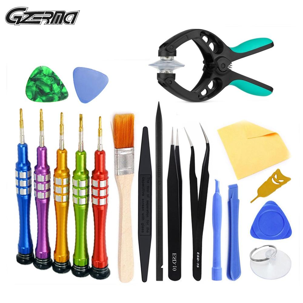 20 em 1 desmontar pry metal chave de fenda conjunto escova anti-estática kit de ferramentas de reparo do telefone móvel para o telefone celular iphone android