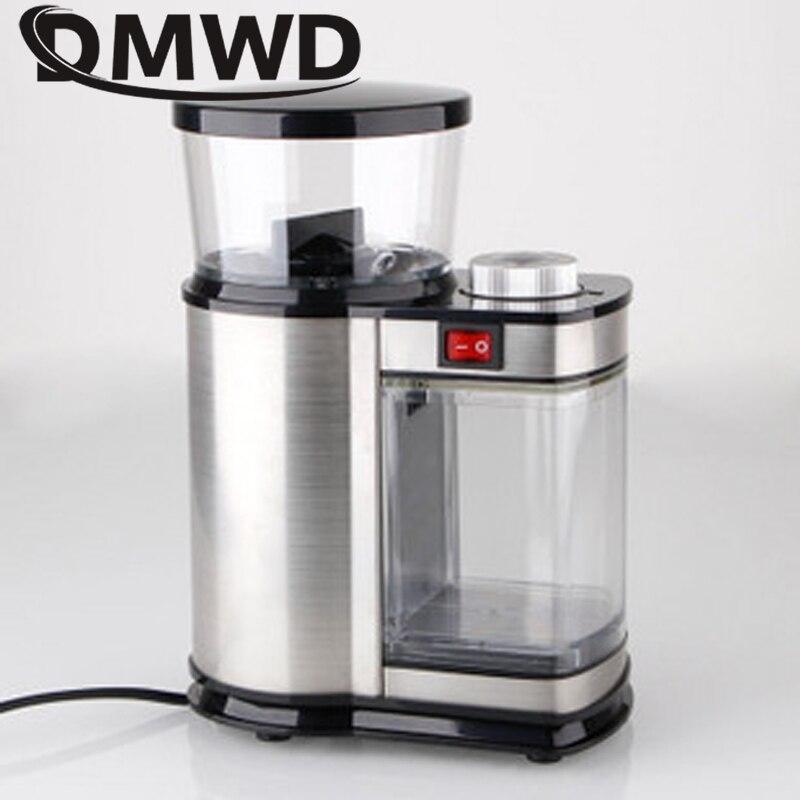 DMWD eléctrico de acero inoxidable molinillo de café 350g Burr Molino de café italiano de tuerca semillas ultrafino seco máquina de molienda de 110 V 220 V