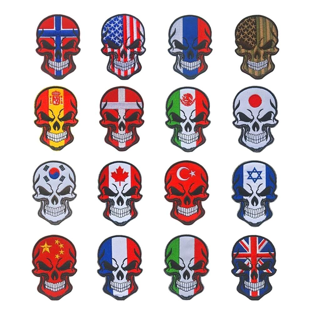 Crânio país bandeira bordado remendo braçadeira emblema militar decorativo costura apliques embelezamento tático moral remendos