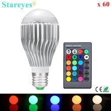 Free shipping 60 pcs 550LM RGB led lighting Colorful 9W E27 RGB LED Lamp Bulb with 24 key Remote Control RGB lighting