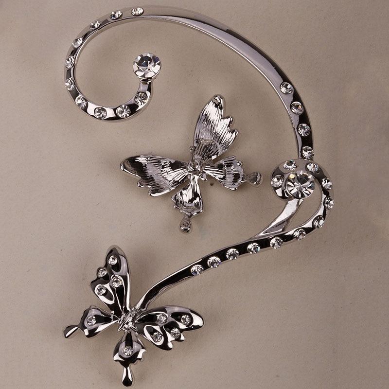 Borboleta esquerda direita orelha clip manguito brincos jóias de cristal australiano para as mulheres ouro prata cor sc04 atacado dropshipping