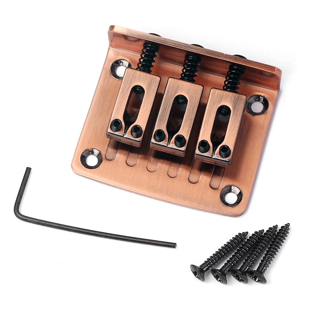Puente de guitarra 3 sillín 4 Tornillo para caja de cigarros 3 cuerdas DIY rojo
