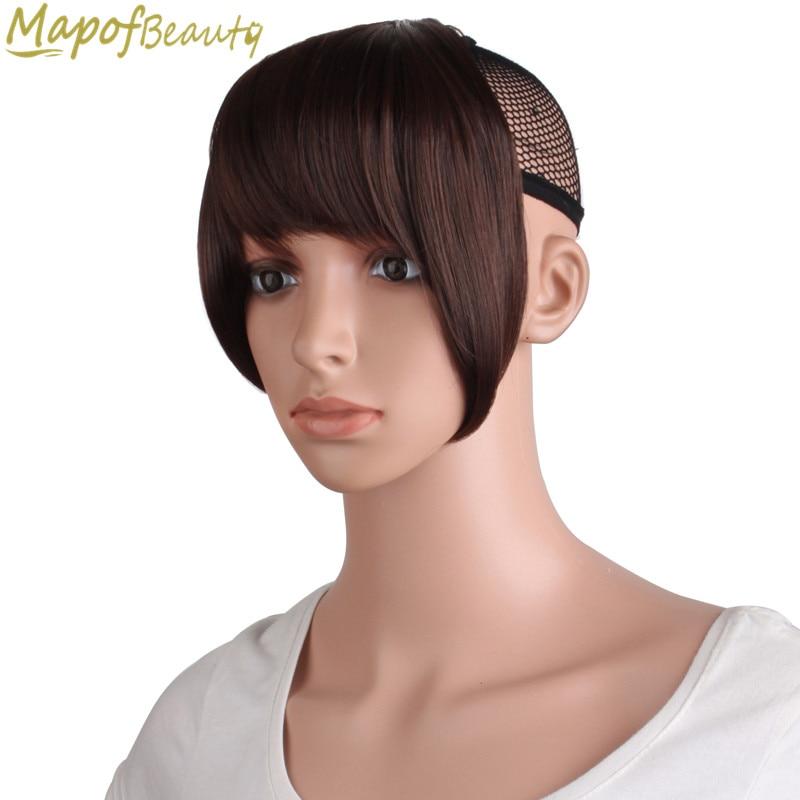 MapofBeauty Fringe Clip In einem stück Haar Gradienten Pony Braun Blonde Falsche Synthetische Haar Extensions Hitze Beständig Haar Stück