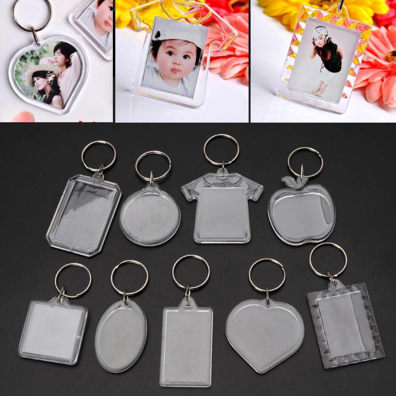 Javrick 10 pçs imagem em branco chaveiros acrílico transparente chaveiros inserir sua foto quadro chaveiro diy anel de divisão presente
