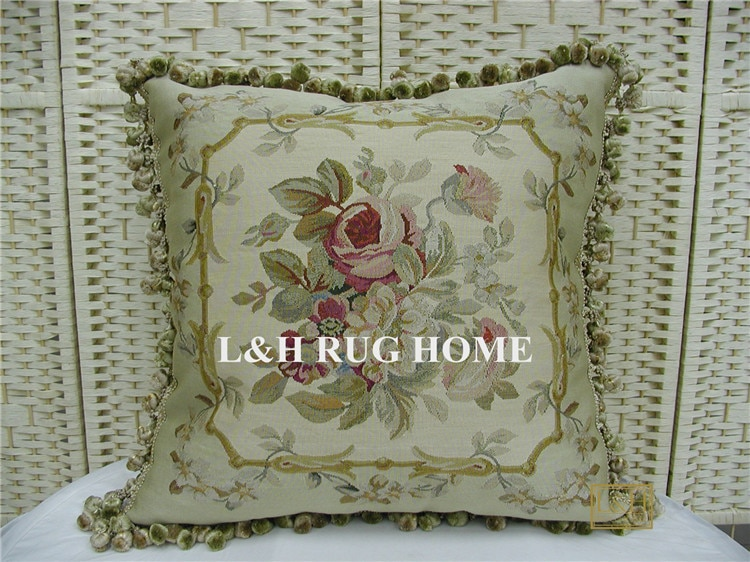 "Envío Gratis 22 ""x 22"" hecho a mano francés gobelino tapiz tejido de seda Aubusson funda de almohada cojín"