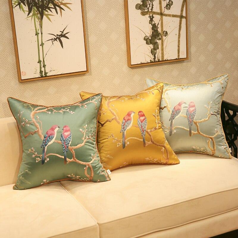 45x4 5/50x35cm chino tradicional bordado funda para almohada con aves decorativo bordado de seda de tela almohada cubierta sofá funda de almohada