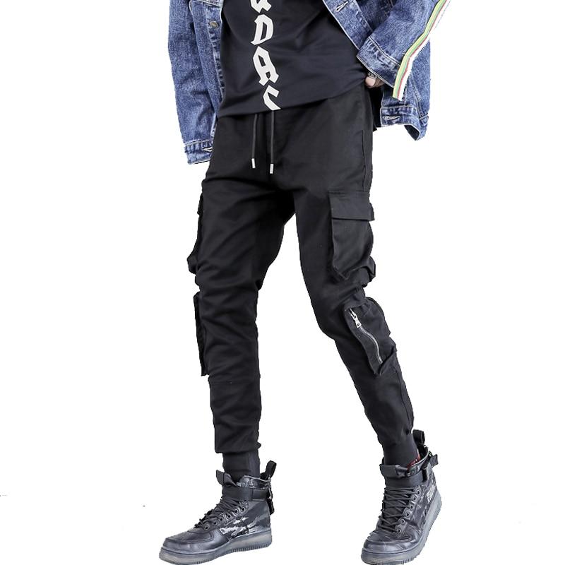 New black hip hop punk harem pants zippers ribbons korean men slim fit elastic joggers streetwear pants Drop Shipping ABZ161
