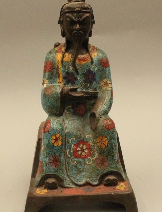 "9 ""China Chino Cloisonne Tíbet Budismo Bronce Antiguo Patriarca Estatua de Buda"