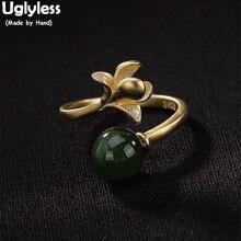Sem graça 100% real 925 Sterling Silver Handmade Orquídea anéis Para As Mulheres Natural Jasper Bola Anel Aberto anel De Dedo Banhado A Ouro jóias