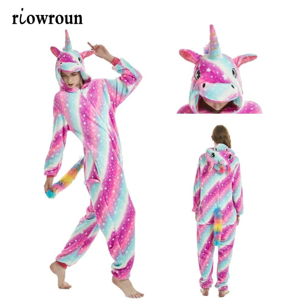 Pijamas animal ponto unicórnio kigurumi onesie adulto unissex mulher pijama unicornio com capuz flanela inverno pijamas