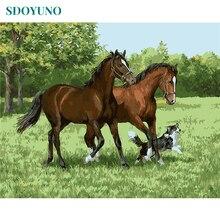 SDOYUNO-cadre peinture cheval animaux   Kits de main par numéros, peinture acrylique sur toile, Art mural moderne pour décoration intérieure 40x50cm