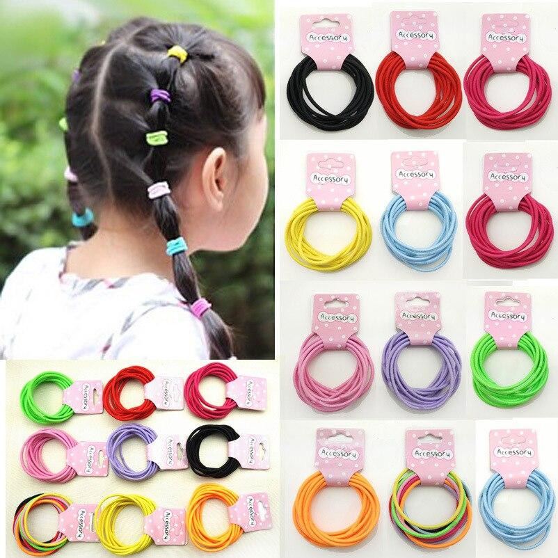 10 pçs/lote Colorido faixas de Cabelo Elásticos Para As Mulheres Fita Preta Anel Corda Cabelo Do Bebê Menina Acessórios Para o Cabelo Por Atacado