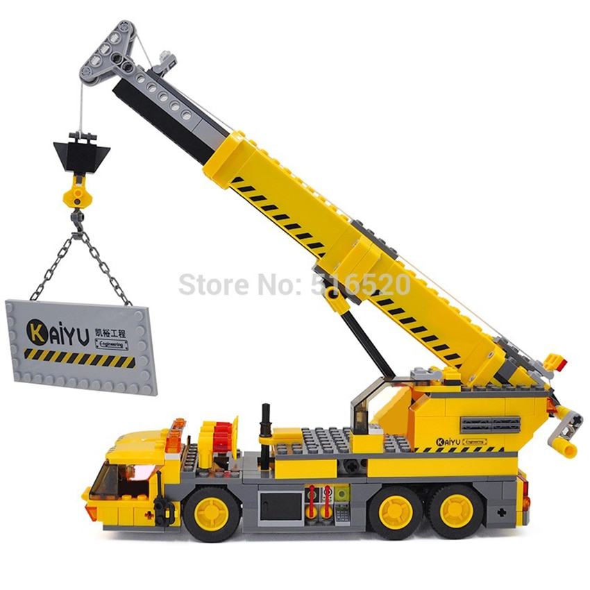 Camión técnico de ciudad Kazi, grúa móvil de elevación, conjuntos de bloques de construcción, modelo 380 Uds., bloques educativos DIY, juguetes para niños