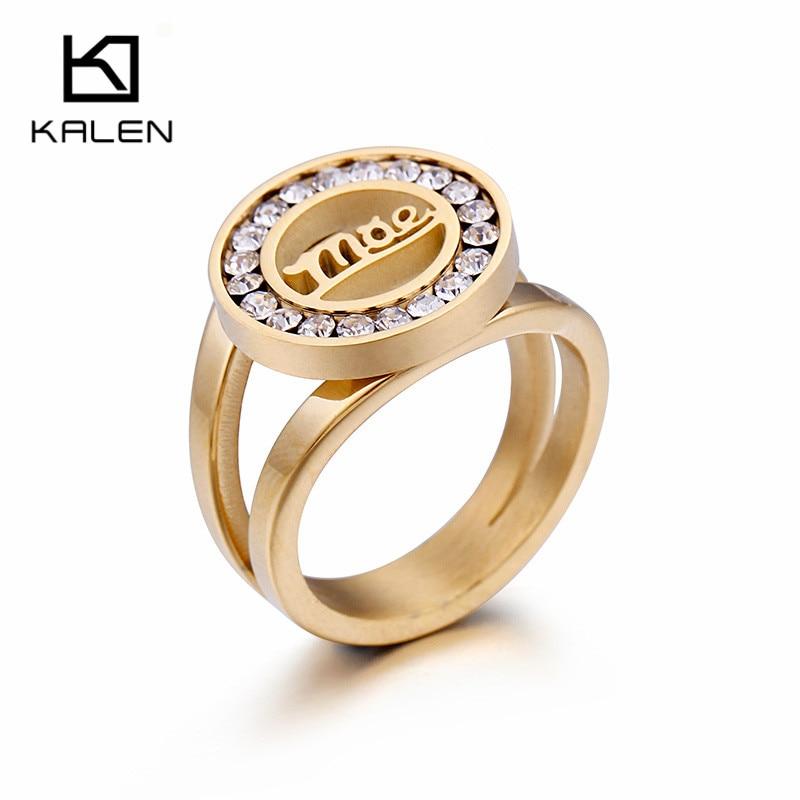 Calen Acero inoxidable anillos de oro para mujeres familia amor diamantes de imitación letra M & E mamá patrón anillos joyería madre regalos del día de