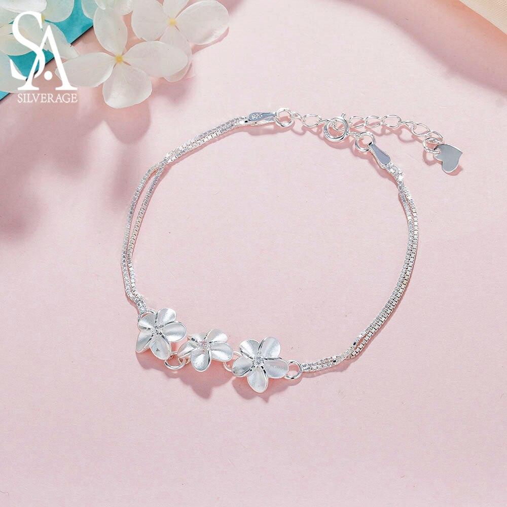 SA SILVERAGE Real 925 Sterling Silver Flowers Chain Link Bracelet for Women Fine Jewelry 925 Silver Charm Bracelets Bangles 2019