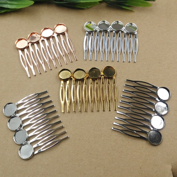 20 шт./лот, 12 мм, накладки для волос, зубья, гребень для волос, заколка для волос, античная бронза/золото/серебро/черный, шпилька для волос, ручн...