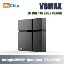 Wechip V8 MAX Android 8.1 TV Box Amgolic S905X2 Quad core 4G32G Set Top Box 4K HD IPTV 1 jahr suscription Media Player
